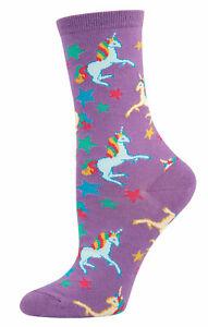 NEW Womens Fun Novelty Socks Pretty Unicorns Stars on Purple - Sock Size 9-11