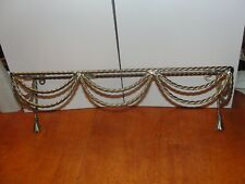Vintage Gold Brass Metal Wire Wall hanging Glass Shelf - bathroom sunroom -EUC