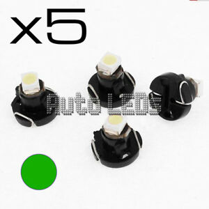 5 Green SMD LED T3 Neo Wedge 12v Interior LED Bulb