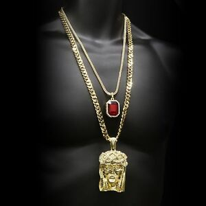 14k Gold Plated Hip Hop Crowned Jesus Pendant & Iced Red Ruby Set