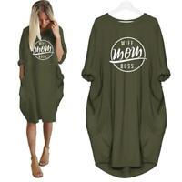 Fashion WIFE MOM BOSS Letters Print T-Shirt For Women Pocket Plus T-Shirt Women