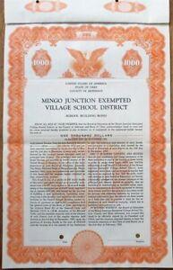 Jefferson, OH SPECIMEN 1954 Mingo Junction Village School Bond Certificate- Ohio