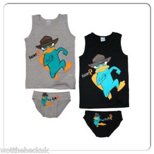 Boys Official Perry the Platypus Vest & Pants Set Phineas Ferb Underwear Agent P