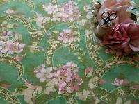 Antique Floral Blossom Cotton Fabric ~ apple green blush pink citrine