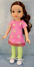 14 Inch Doll Clothes Hot Pink/Lime Green Hearts T-shirt & Leggings by Jane Ellen