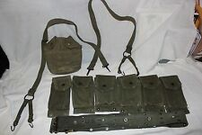 US Military Issue Vietnam Canvas Field Gear Snap Belt Suspenders Ammo Pouch M14