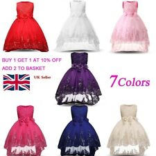 Girls Bridesmaid Dress Baby Flower Kids Party Rose Bow Wedding Dresses Princess_