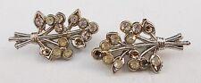 Vintage Pair Clear Rhinestone Silvertone Pins Dj12