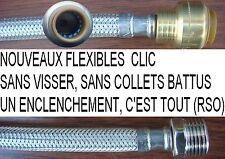 24 Flexible CLIC,30 cm, Ø 1/2 Mâle pour tuyau Ø 14 mm,,Inox RSO,plomberie
