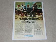 Pioneer Speaker Ad, Allman Brothers, R-700,R-500b, CS-99a, CS-A700, 1 page, 1973