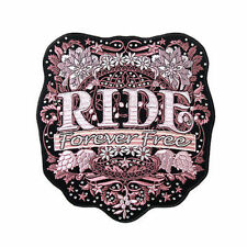 RIDE FOREVER FREE 8 x 9 Lady Rider PINK FLORAL Quality BIKER BACK Patch LRG-0070
