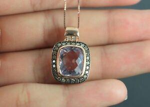 $2,200 LeVian 14K Rose Gold Chocolate Diamond Pink Amethyst Necklace Pendant