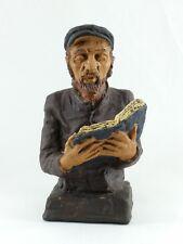Rabbi Stone Torah Prayer Statue, Signed & Dated Rabbi Figurine by Kaplan 1969