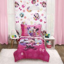 Disney 4-Piece Minnie Mouse Happy Helper Toddler Bedding Set Kids Girls Room New