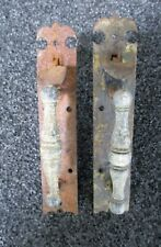 """ANTIQUE PAIR NORFOLK WROUGHT CAST IRON BARN ENTRY DOOR THUMB LATCHES 6 1/2"""""""