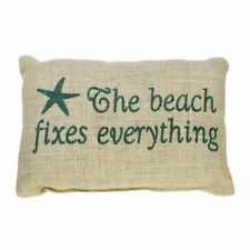 The Beach Fixes Everything - Burlap Accent Pillow with Star Fish
