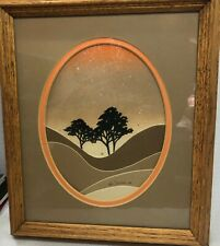 Vintage Ken Daddario 1984 Silk Screen Air Brush Wood Framed Tree Desert Brown