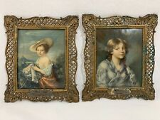 2 Vintage Victorian PICTURE FRAME Frames Convex Bubble Glass Ornate Metal