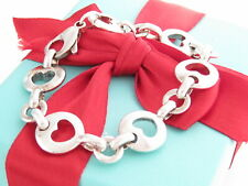 "Auth Tiffany & Co Silver Stencil Heart Link Bracelet 7.375"""