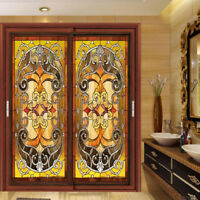 Static Cling Window Film Stained Glass Effect  Door Closet Privacy Decoration