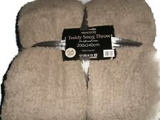Slate Grey Teddy Fleece Throw Blanket Luxury Soft King Warm Large 200 x 240cm