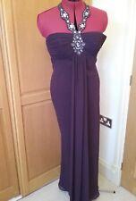 Ben de Lisi beaded  halter neck dress.Size 8. Maxi length Purple. PROM. STUNNING