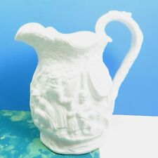Antique S Alcock & Co 1849 Witch & Cauldron Parian Gypsy Camp White Pitcher