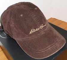 RARE 1998 Vintage Men's EDDIE BAUER Brown Corduroy 6 Panel Adjustable Cap / Hat