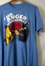 """ANGRY BIRDS MEN'S TEE BLUE SIZE LARGE T-SHIRT 21""""PIT 28.5""""L ANGER MANAGEMENT L"""
