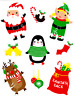 Christmas Santa Glitter Window Glass Decorations Stickers Decals Xmas