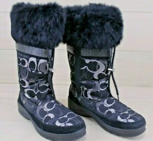 Coach Black and Silver Glittery Fur Trimmed Boots, Lizzie Signature Boot, 8.5 -0