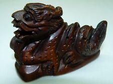 Vintage Japanese Detailed Hand-Carved Wooden Netsuke Fearsome Shoo Dog, L 6.8 cm