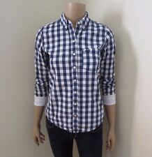 Abercrombie Women Plaid Button Down Shirt Size XS Navy Blue & White