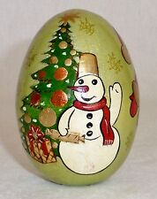 Vintage Russian Painted Wood Christmas Easter Egg Santa Claus Holiday Tree SIGN