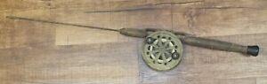 Vintage Restoration Ready Ice Fishing Rod With Wood Handle & Metal Reel