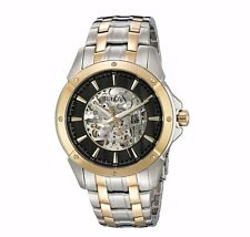 Bulova Men's 98A146 Automatic Black Skeleton Dial Two Tone Dress Watch