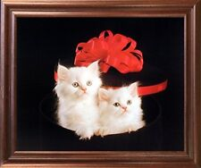 Cute Cats Persian Kittens with Red Bow Animal Wall Decor Mahogany Framed Picture