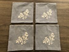 Set of 4 - Light blue with white floral embroidered design 100% Cotton Napkins!