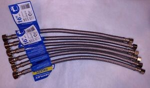 "Faucet Sink Supply Line Stainless Braided  3/8"" Compression X 1/2"" X 16""  6 PACK"