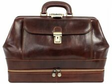 LEATHER DOCTOR BAG UNISEX VINTAGE LARGE SATCHEL MEDICAL PURSE MADE IN ITALY NEW