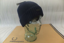 FRED PERRY Beanie Men's Ribbed Knit Navy Hat Turn up Wool Skull Cap BNWT