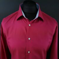 Tommy Hilfiger Mens Shirt 45 18 (2XL) Long Sleeve Pink Fitted No Pattern Cotton