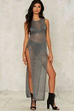 Nasty gal Level the Playing Shield Metallic Sweater dress M/L NWT NG77