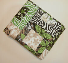 "Animal Print Baby Crib Quilt  Handmade 41"" x 45"" Zebra Green Brown Flowers White"