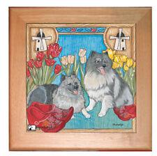 "Keeshond Dog Kitchen Ceramic Trivet Framed in Pine 8"" x 8"""