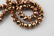 100ps Faceted Glass Crystal Rondelle Spacer Beads Charms Findings 6mm Loose Bead
