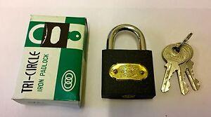 Tri Circle 38mm Iron Padlocks with 3 Keys