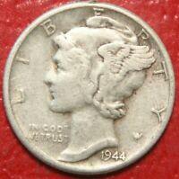 1944 Mercury Dime , Circulated  , 90% Silver US Coin