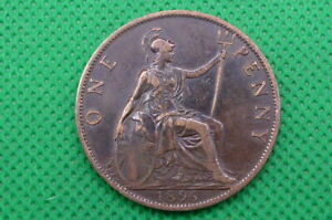 VICTORIA 1896 ONE PENNY COIN , CLOSE 96 IN DATE (4239)