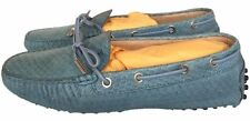 TOD'S PYTHON SNAKE SNAKESKIN BLUE DRIVERS DRIVING SHOES LOAFERS FLAT FLATS 36.5